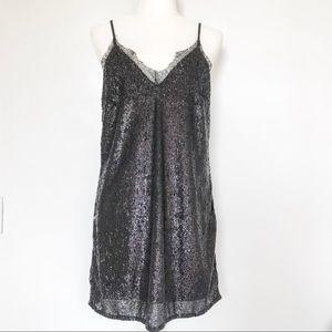 H&M Black Sequin Mini Dress with Lace Detail US 8